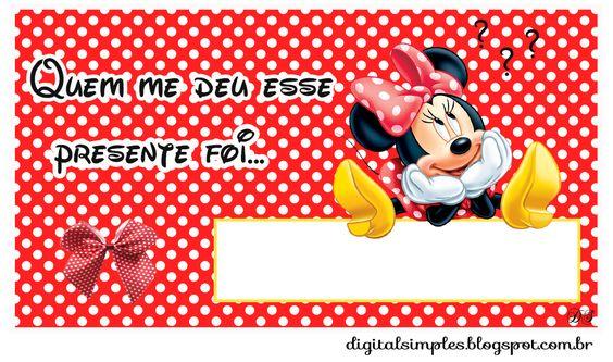 "Kit Aniversário Personalizados Tema ""Minnie Vermelha"" para Imprimir - Convites…"