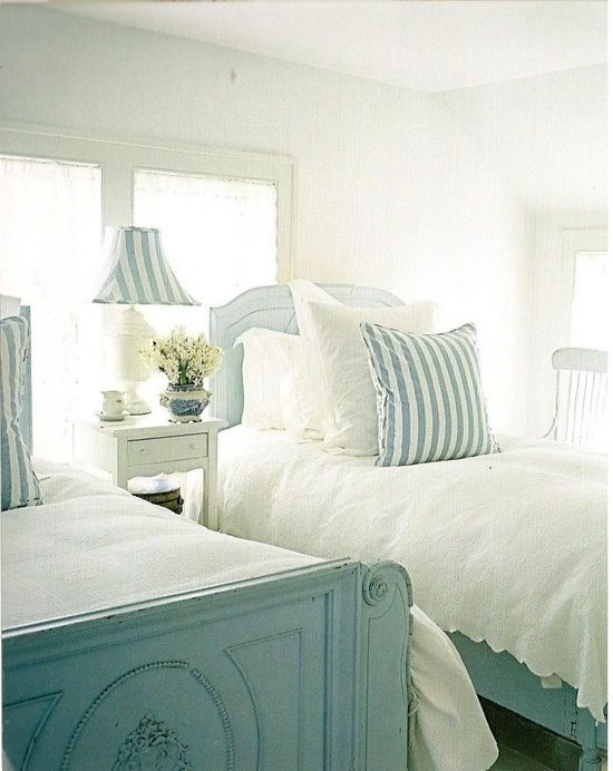 pretty beach cottage bedroom- great guest room | Little white attic on coastal cottage garden, coastal cottage kitchen, coastal cottage guest bedroom, coastal cottage lighting, coastal cottage bedroom furniture, coastal cottage bathroom, coastal cottage master bedroom, coastal cottage beds, coastal cottage rugs, coastal cottage interior, coastal cottage pillows, coastal cottage wall decor, coastal cottage bedroom paint,