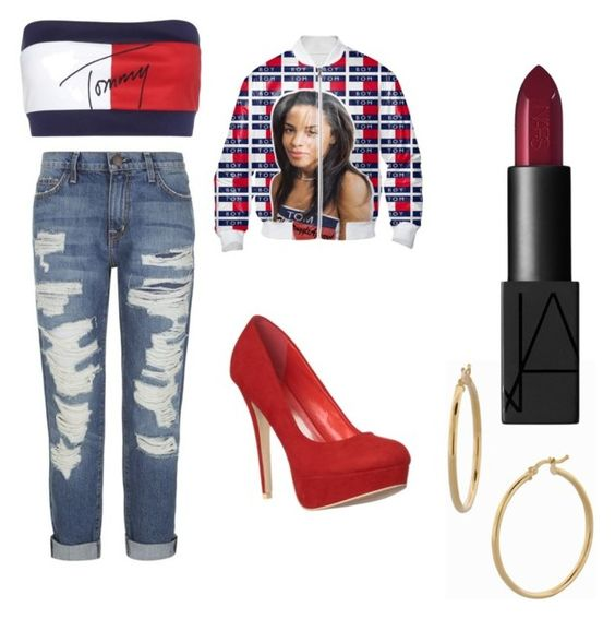 """Aaliyah rock this"" by chondreaa ❤ liked on Polyvore featuring beauty, Tommy Hilfiger, Current/Elliott, Bony Levy and NARS Cosmetics"