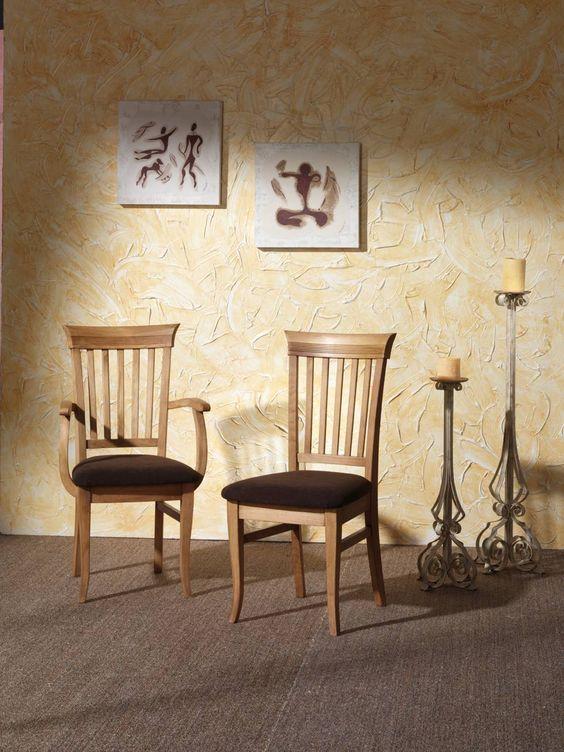 Silla de comedor m 99 de madera de pino maciza con for Comedor pequea o 4 sillas