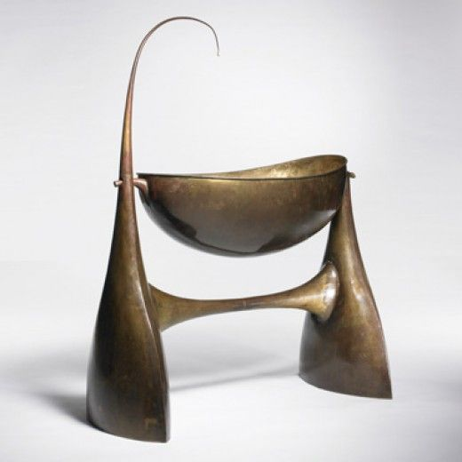 PHILIPPEHIQUILY  bassinet  France , 1987 bronze 44 w x 20 d x 56 h inches Hiquily designed this bassinet as a gift for a private collector ...