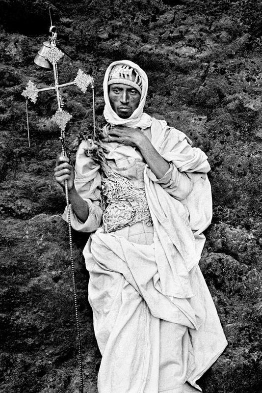 Ethiopian priest during Christmas in Lalibela by Athina Kazolea, 2001