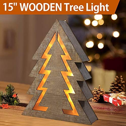 Bright Zeal 15 Quot Lighted Wooden Christmas Tree Light Indoor Table Top Wooden Led Christmas Tree Lights Fir Christmas Tree Christmas Decorations Clearance