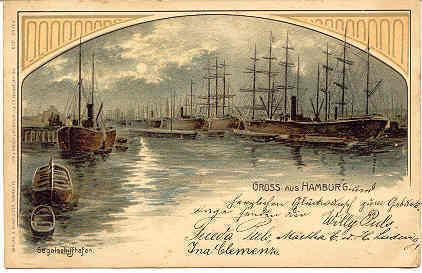 """ Gruss aus Hamburg, Germany, 1898 "" Karodens Vintage Post Cards."