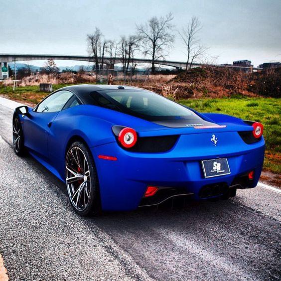 gorgeous matte blue ferrari 458 italia - Ferrari 458 Italia Blue