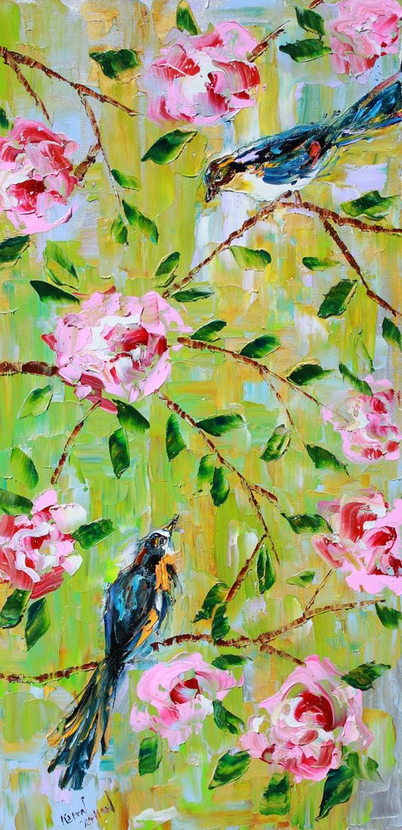 #Art #Birds - Reserved for Elinor ORIGINAL  Birds Flowers modern PAINTING on canvas Oil impressionism decorative  palette knife fine art by Karen Tarlton http://www.ablankcanvas.net