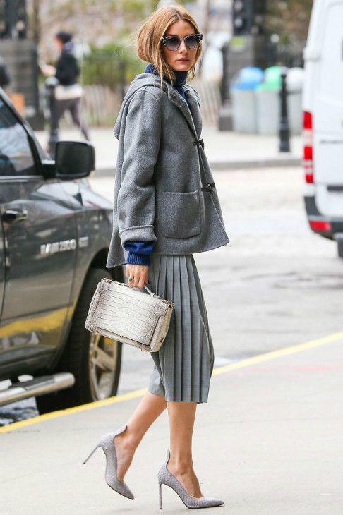 Olivia Palermo grey pleated midi skirt and duffle coat | Celebrity