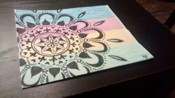 Mandala sur couleur - crayons de feutre  à 1.75$ du dollorama   Inspired by https://www.etsy.com/ca-fr/listing/210449508/peinture-originale-de-mandala-sur-le?utm_source=Pinterest&utm_medium=PageTools&utm_campaign=Share