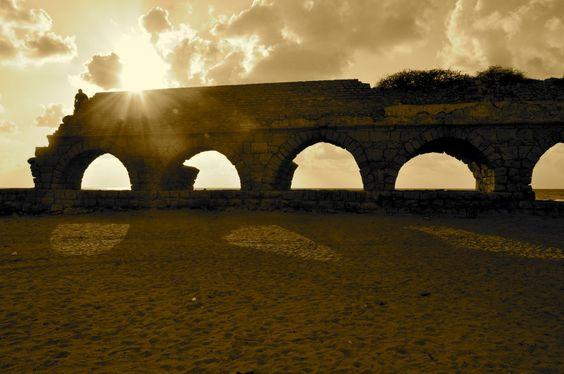 Ancient roman aqueduct in Caesarea, Israel