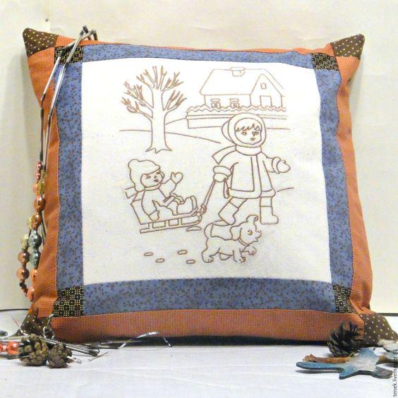 Купить Декоративная подушка диван Зима печворк Винтаж подарок новогодняя тема - декоративная подушка