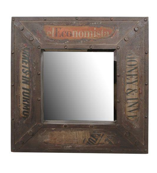 Privilege Vintage Wall Mirror In Vintage Brown - Beyond the Rack