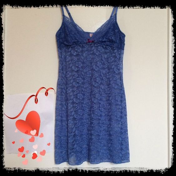 Size Med Periwinkle Blue Lace Nightie Sassy Lace Nightie.  Super comfortable and sexy.   In Like New condition.   Cute burgundy bow detail.   See through Lace.  Best to fit 32-36 A,B,C or D cup. Intimates & Sleepwear Chemises & Slips