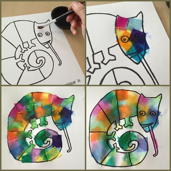 Use with Eric Carle's The Mixed Up Chameleon. Bleeding art tissue paper cut into squares, paint the paper with water and lay the squares in single layers overlapping. Peel off the squares when it dries.