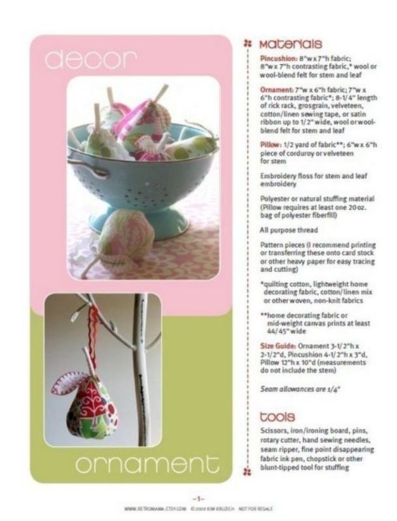 Sewing Pattern Pear Pincushion Ornament and Pillow by retromama