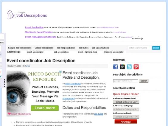 Sample Job Descriptions events planner Pinterest Event - event coordinator job description