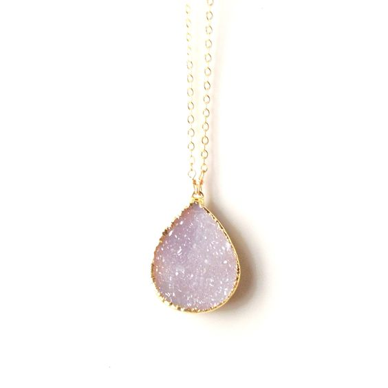 Anissa Sand Druzy Circle Chain Necklace