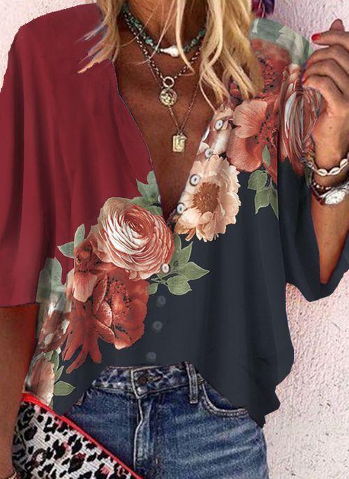 Lassige Kleidung Lange Armel Blumen Kragen Blusen Floryday Modestil Hemdblusen Lassig Kleidung