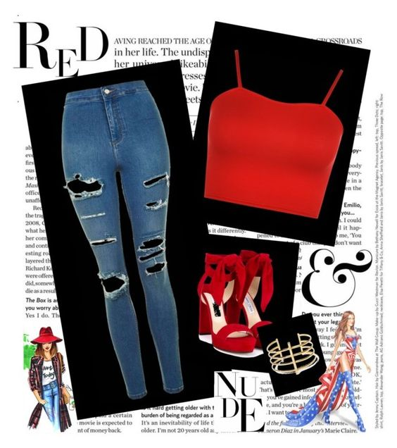 """red"" by cantbeass on Polyvore featuring Topshop, WearAll, Jimmy Choo, BauXo and Victoria's Secret"