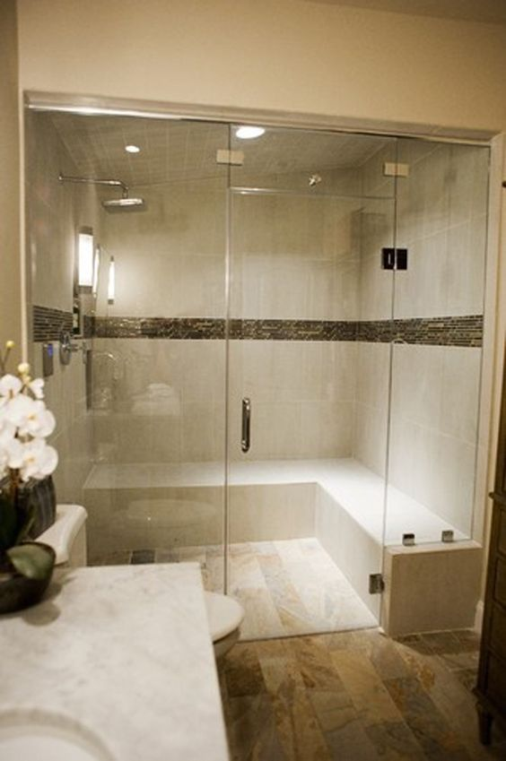 Spas bathroom and steam room on pinterest for Huge master bathroom