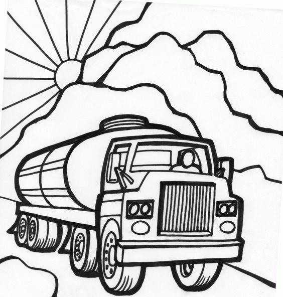 free coloring pages cars and trucks | tanker truck coloring page fast car coloring page monster ...