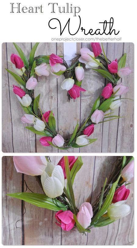 Heart Tulip Wreath for Valentine's Day from One Project Closer