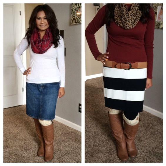 Boots \u0026 Skirts Outfits. Jean skirt, plaid scarf, \u0026 sweater. Striped skirt