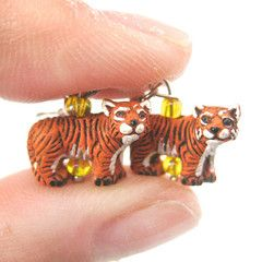 Detailed Bengal Tiger Shaped Porcelain Ceramic Animal Dangle Earrings | Handmade $16.50 #tigers #cats #animals #earrings #jewelry