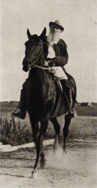 Leo Tolstoy is riding a horseback. 1909. He is 81 years old. #Leo_Tolstoy: