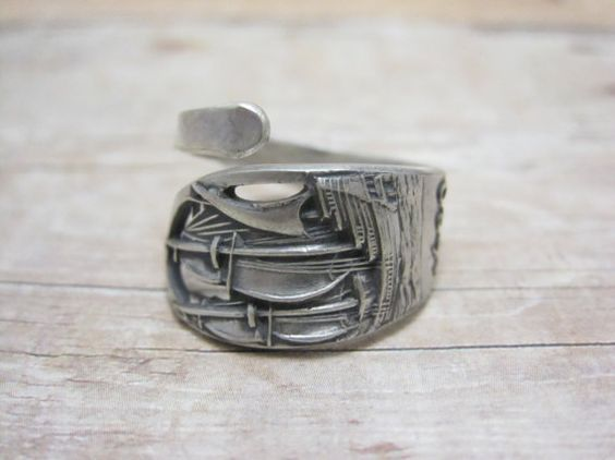 Plymouth Mayflower Sterling Spoon Ring