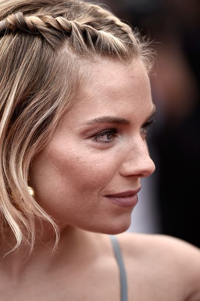 Summer Braids: Sienna Miller in front two plaits + loose curls bob hair during Cannes 2015. * braid * beach * style