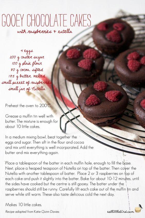 Gooey Chocolate Cakes with Raspberries & Nutella. Recipe by Katie Quinn Davies