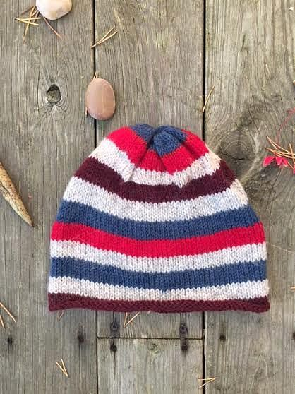 Knitted hat striped woman man unisex weekend hat by woolpleasure