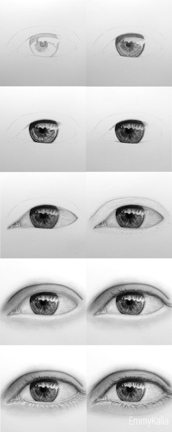 how to draw a realistic eya step by step