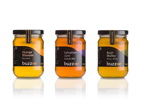 honey jar label | Honey jar with black labels ... | Package Design ...