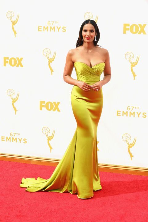 Padma Lakshmi in a Romono Keveza dress and Fred Leighton jewelry at the 2015 Emmys. See what all the stars wore to the ceremony.