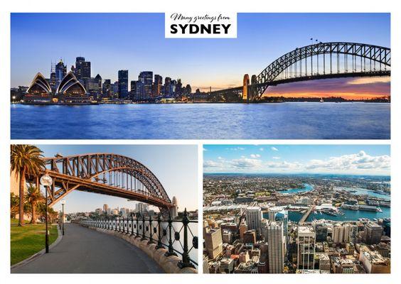Sydney – Trio Collage | Urlaubsgrüße | Echte Postkarten online versenden…