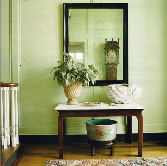 Traditional Style Hallway With Celery Green Walls Paint