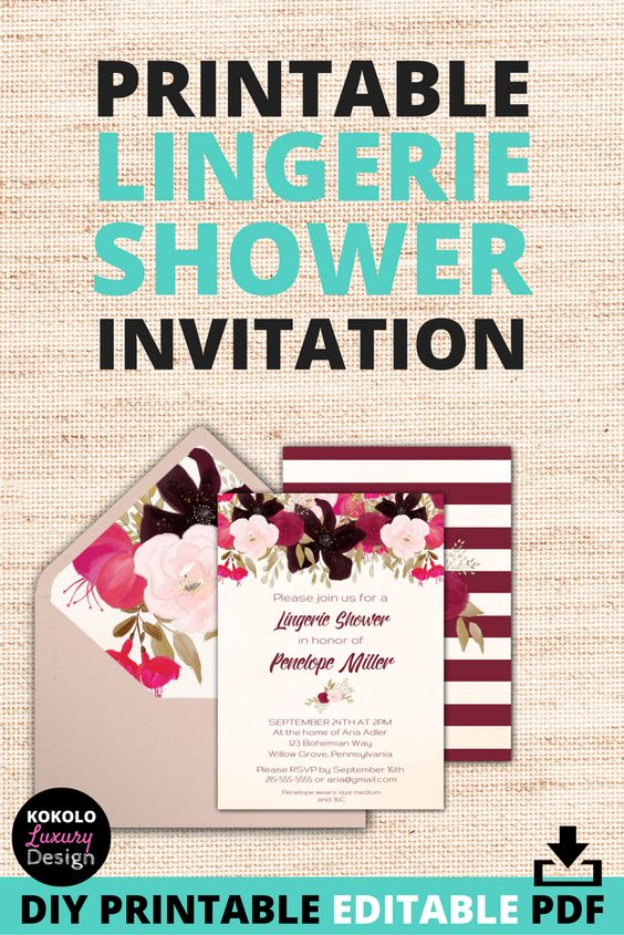 "Printable Lingerie Shower Invitation with Boho Design - These DIY bridal lingerie wedding shower invitations are awesome, because ALL of the text on the PDF file is editable, which makes the invitations really versatile. For example, you can change the wording to read ""lingerie party"" or ""bridal shower""! These classy boho shower invites are simple to download, personalize the text, and print out. They have a really cute floral back template, and come with printable envelope liners too!"