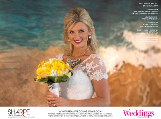 "From the ""Beautiful Works of Art"" Cover Model Contest feature in the Winter/Spring 2014 issue of Real Weddings Magazine, Photography by www.SharpePhotographers.com © Real Weddings Magazine, www.realweddingsmag.com. To see more, including a full list of all of the professionals on this shoot, visit: http://www.realweddingsmag.com/real-weddings-cover-model-finalist-skye-holliday-beautiful-works-of-art/"