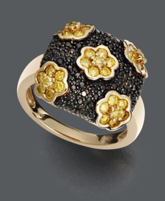 Yellow Diamond (1 ct. t.w.) and Black Diamond Accent Square Flower Ring in 14k Gold | macys.com