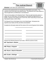 Printables Judicial Branch Worksheet judicial branch worksheet 1 worksheets history american symbols of america us government 1