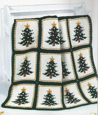 Christmas Afghan Knitting Patterns : Crochet Pattern Instructions ~ CHRISTMAS PINES AFGHAN ~ Christmas Tree Croc...