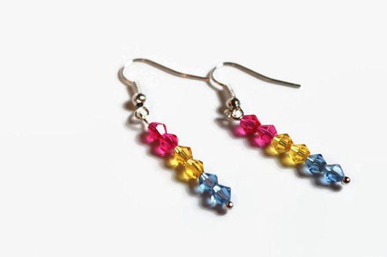 Crystal earrings pansexual pride earrings by hodderdesigns on Etsy