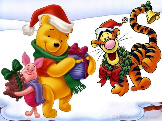 Tigger,Winnie And Piglet With Christmas Gifts-DESI6073 Disney POOH