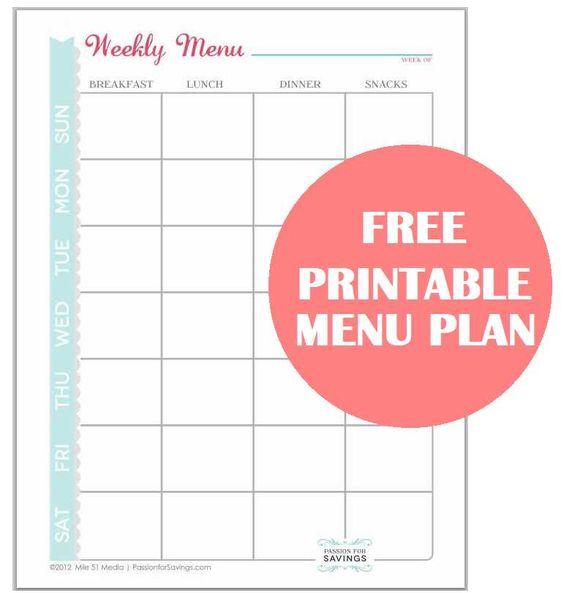 Free Printable Menu Plan Worksheet