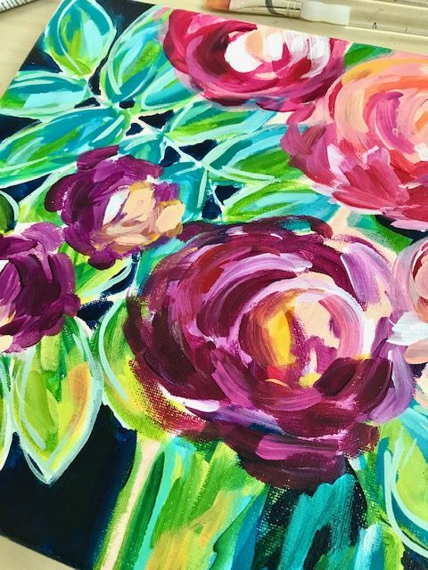 Easy Abstract Flowers Acrylic Painting For Beginners Learn How To Paint Abstract Flowers Video D Flower Canvas Abstract Flowers Acrylic Painting For Beginners