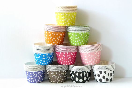 """Cute standard size polka dots pattern nut cup / candy cups. Great for party serving small portions of candy or nuts.approx 2"""" bottom and 2 1/2"""" top and 1.5"""" tall. $4.00"""
