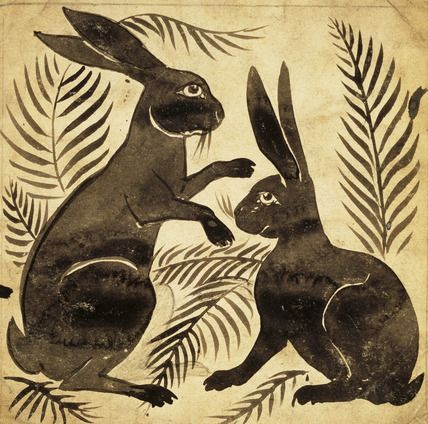 Two Rabbits or Hares, tile design by William de Morgan (1839-1917). England, 19th century.
