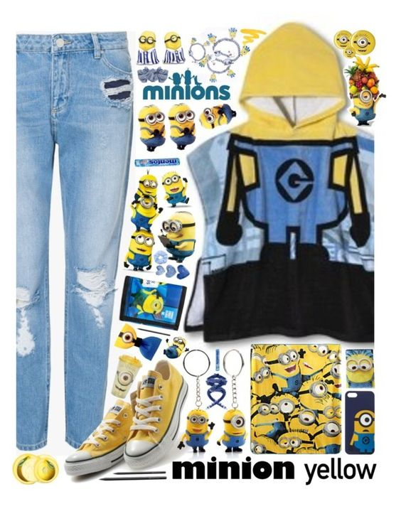 """""""""""Minion Yellow"""" - Contest"""" by arierrefatir ❤ liked on Polyvore featuring Zoe Karssen, Converse, Accessorize, The Body Shop, Faber-Castell, Urban Decay, cute, yellow, Blue and converse"""