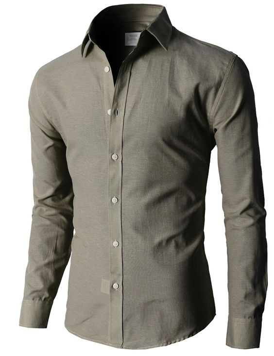 Doublju Oxford Cotton Slim Fit Casual Button-down Shirts Long ...